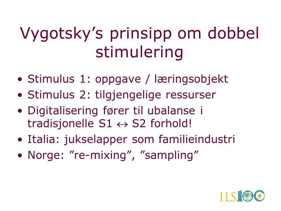 Vygotsky's prinsipp om dobbel stimulering •Stimulus 1: oppgave / læringsobjekt •Stimulus 2: tilgjengelige ressurser •Digitalisering fører til ubalanse