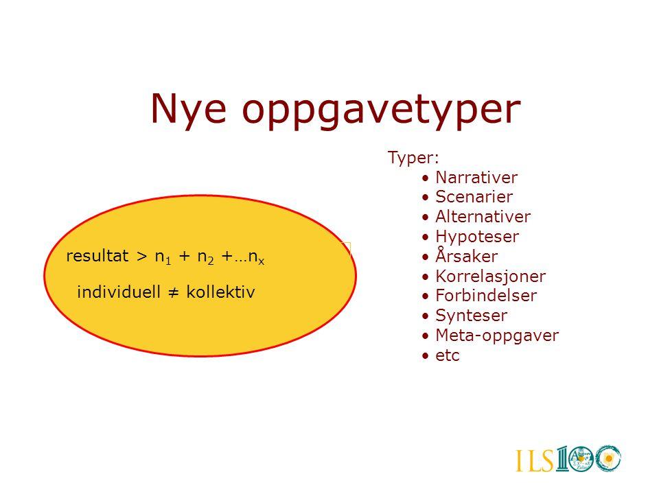 Nye oppgavetyper resultat > n 1 + n 2 +…n x individuell ≠ kollektiv Typer: • Narrativer • Scenarier • Alternativer • Hypoteser • Årsaker • Korrelasjon