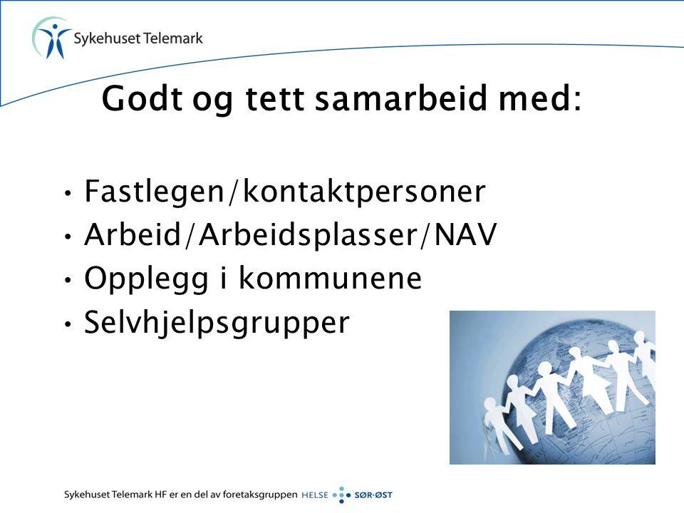 Godt og tett samarbeid med: •Fastlegen/kontaktpersoner •Arbeid/Arbeidsplasser/NAV •Opplegg i kommunene •Selvhjelpsgrupper