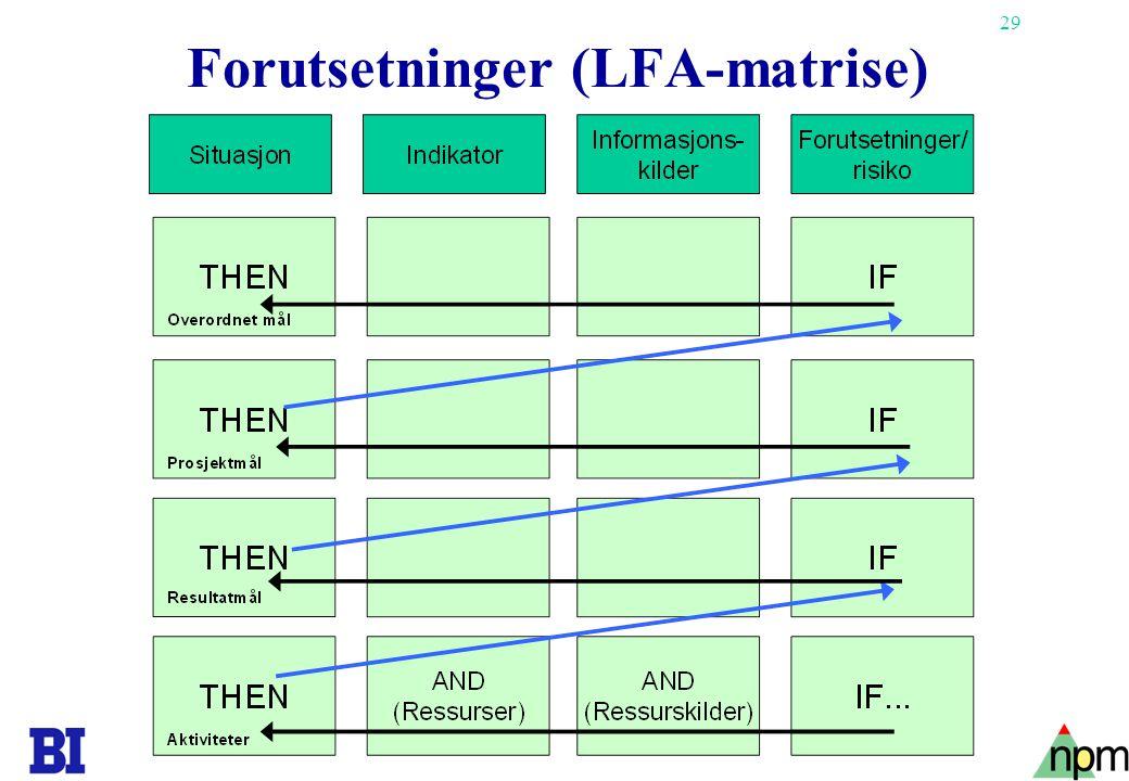 29 Forutsetninger (LFA-matrise)