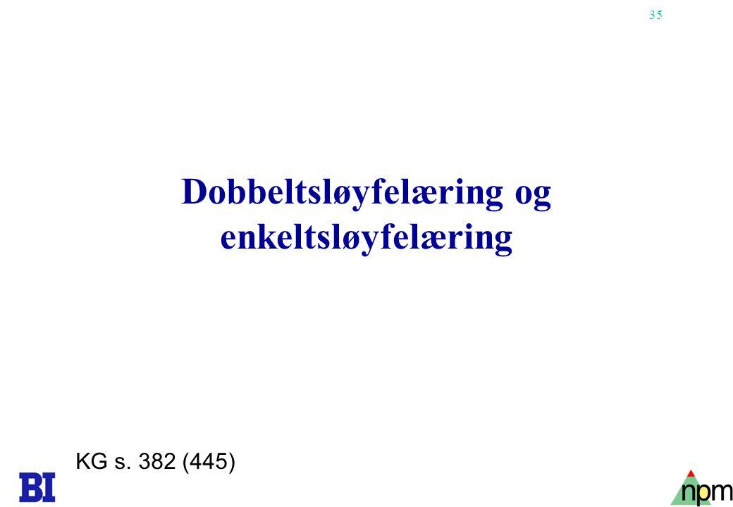 35 Dobbeltsløyfelæring og enkeltsløyfelæring KG s. 382 (445)