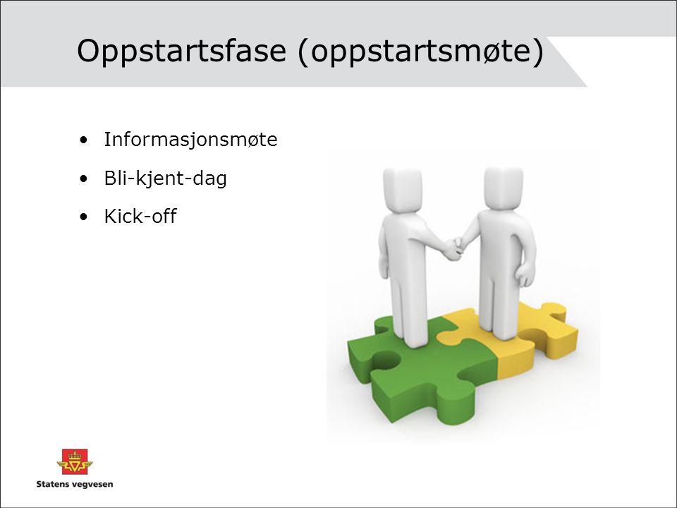 Oppstartsfase (oppstartsmøte) •Informasjonsmøte •Bli-kjent-dag •Kick-off