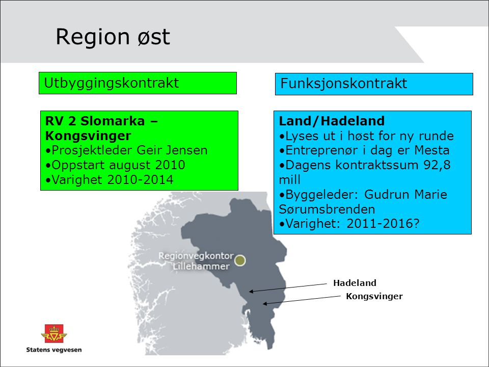 Region øst Utbyggingskontrakt Funksjonskontrakt RV 2 Slomarka – Kongsvinger •Prosjektleder Geir Jensen •Oppstart august 2010 •Varighet 2010-2014 Land/