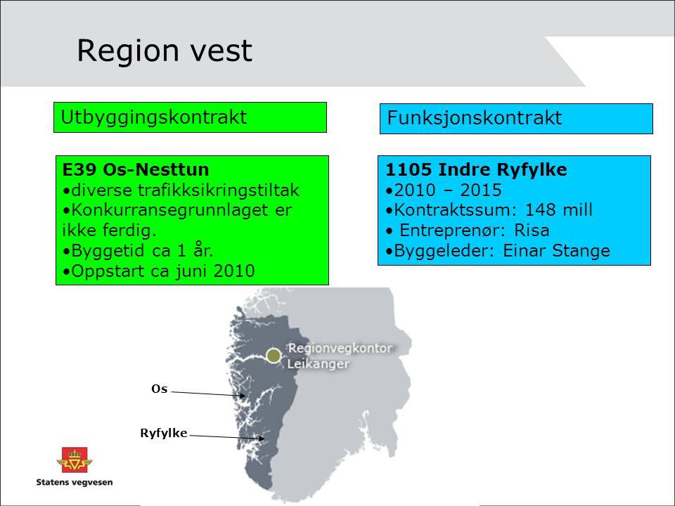 Region vest Utbyggingskontrakt Funksjonskontrakt E39 Os-Nesttun •diverse trafikksikringstiltak •Konkurransegrunnlaget er ikke ferdig. •Byggetid ca 1 å