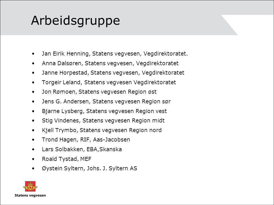 Arbeidsgruppe •Jan Eirik Henning, Statens vegvesen, Vegdirektoratet. •Anna Dalsøren, Statens vegvesen, Vegdirektoratet •Janne Horpestad, Statens vegve