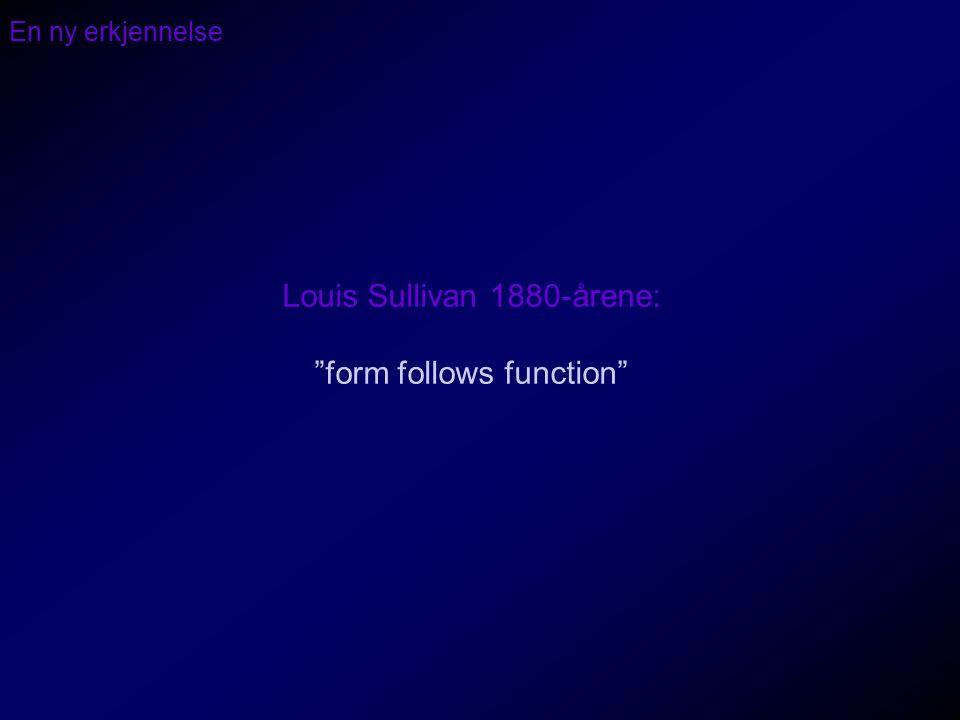 """En ny erkjennelse Louis Sullivan 1880-årene: """"form follows function"""""""
