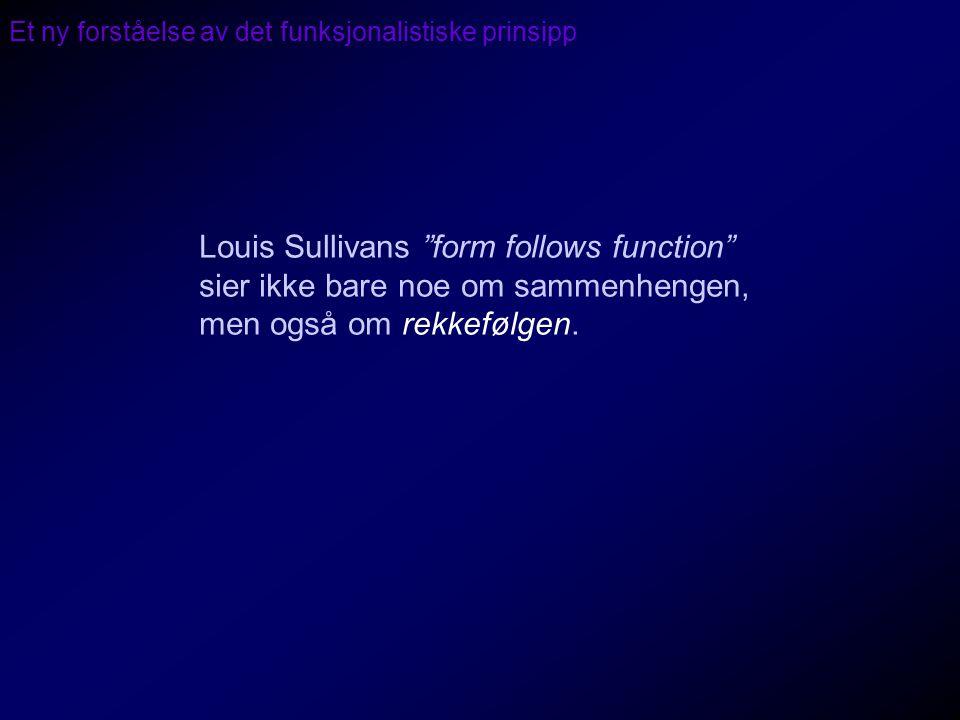 """Et ny forståelse av det funksjonalistiske prinsipp Louis Sullivans """"form follows function"""" sier ikke bare noe om sammenhengen, men også om rekkefølgen"""