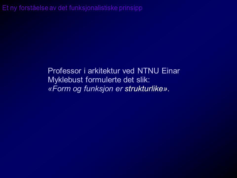Et ny forståelse av det funksjonalistiske prinsipp Professor i arkitektur ved NTNU Einar Myklebust formulerte det slik: «Form og funksjon er strukturl