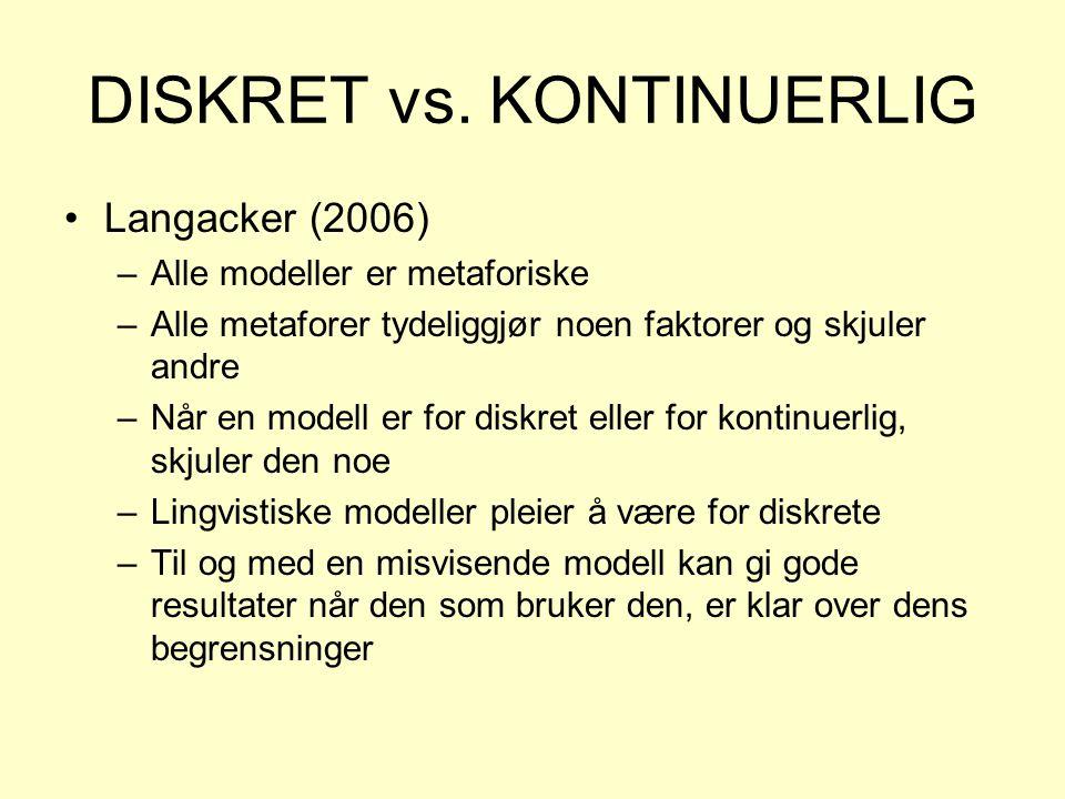 DISKRET vs. KONTINUERLIG •Langacker (2006) –Alle modeller er metaforiske –Alle metaforer tydeliggjør noen faktorer og skjuler andre –Når en modell er