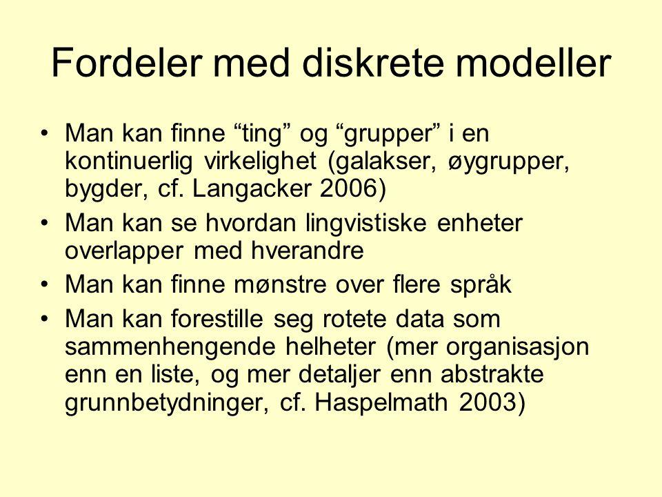 """Fordeler med diskrete modeller •Man kan finne """"ting"""" og """"grupper"""" i en kontinuerlig virkelighet (galakser, øygrupper, bygder, cf. Langacker 2006) •Man"""