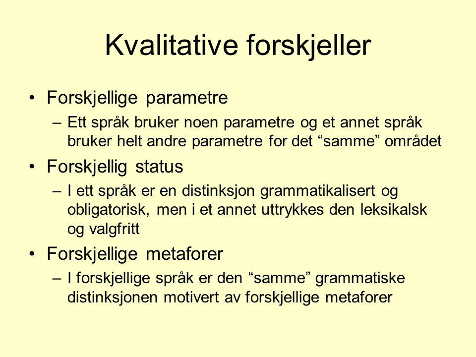 """Kvalitative forskjeller •Forskjellige parametre –Ett språk bruker noen parametre og et annet språk bruker helt andre parametre for det """"samme"""" området"""