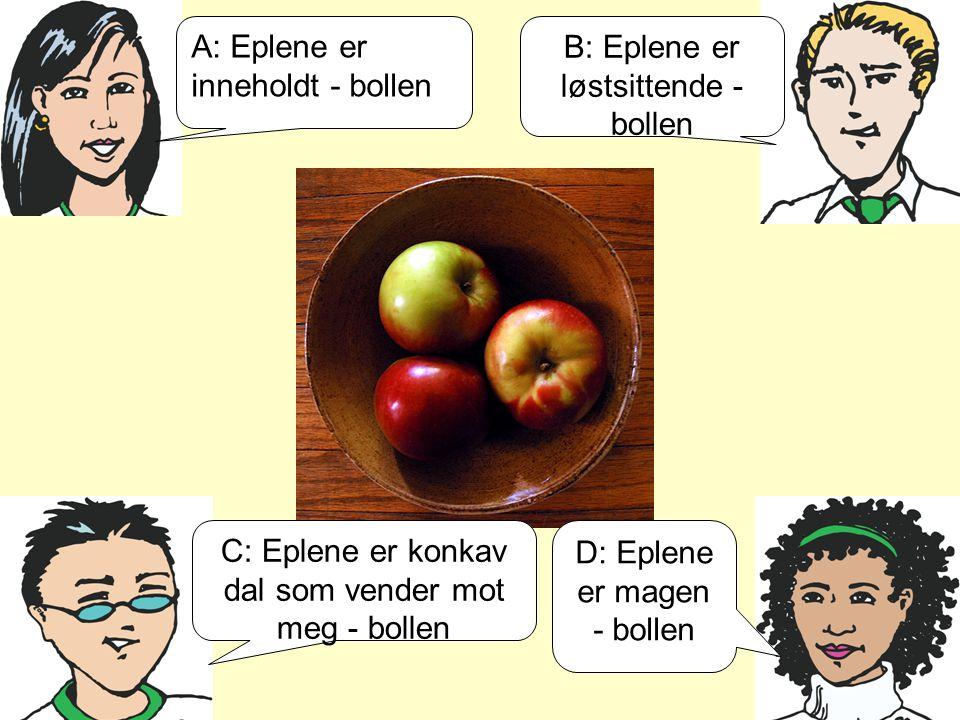 A: Eplene er inneholdt - bollen B: Eplene er løstsittende - bollen C: Eplene er konkav dal som vender mot meg - bollen D: Eplene er magen - bollen