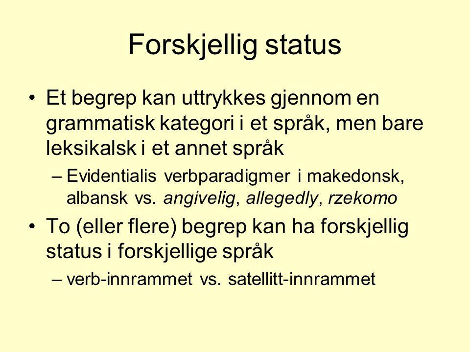 Forskjellig status •Et begrep kan uttrykkes gjennom en grammatisk kategori i et språk, men bare leksikalsk i et annet språk –Evidentialis verbparadigm