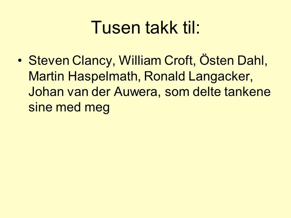 Tusen takk til: •Steven Clancy, William Croft, Östen Dahl, Martin Haspelmath, Ronald Langacker, Johan van der Auwera, som delte tankene sine med meg