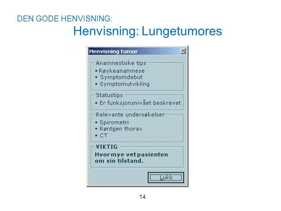DEN GODE HENVISNING: Henvisning: Lungetumores 14
