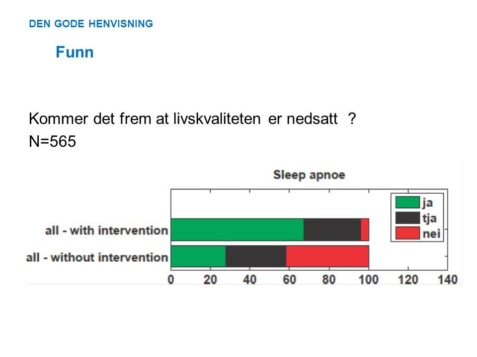 DEN GODE HENVISNING Funn Kommer det frem at livskvaliteten er nedsatt ? N=565