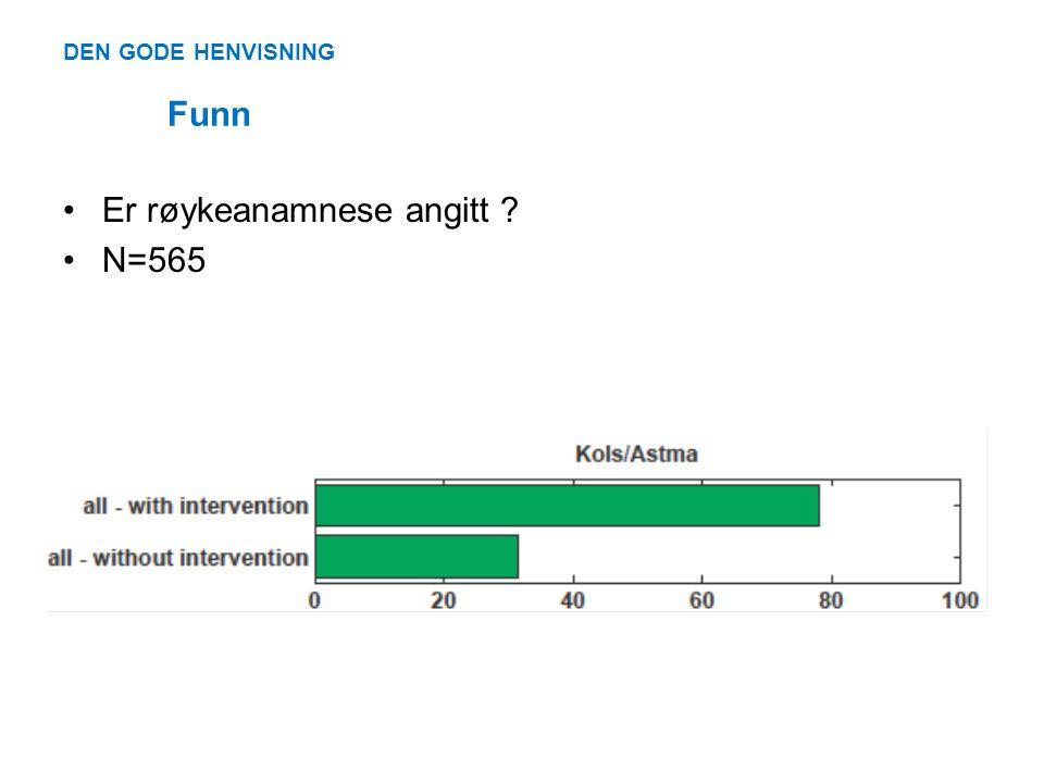 DEN GODE HENVISNING Funn •Er røykeanamnese angitt ? •N=565