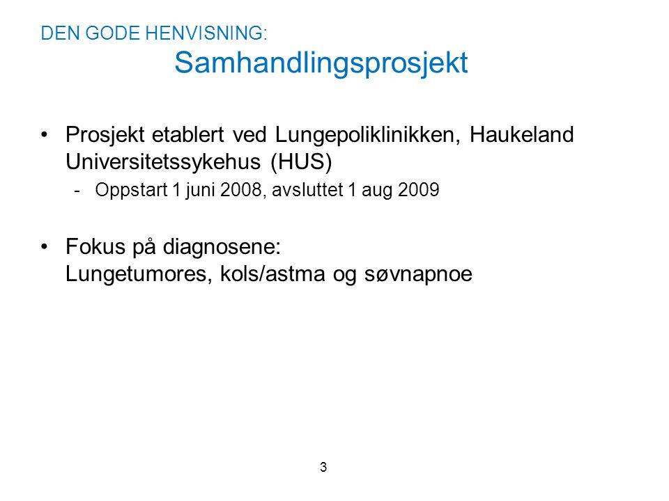 DEN GODE HENVISNING: Samhandlingsprosjekt •Prosjekt etablert ved Lungepoliklinikken, Haukeland Universitetssykehus (HUS) -Oppstart 1 juni 2008, avslut