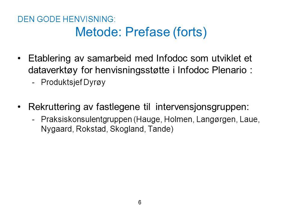 DEN GODE HENVISNING: Metode: Prefase (forts) •Etablering av samarbeid med Infodoc som utviklet et dataverktøy for henvisningsstøtte i Infodoc Plenario