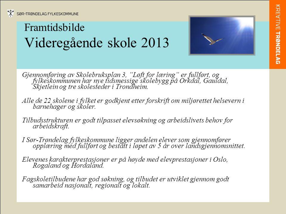 Framtidsbilde Videregående skole 2013 Gjennomføring av Skolebruksplan 3, Løft for læring er fullført, og fylkeskommunen har nye tidsmessige skolebygg på Orkdal, Gauldal, Skjetlein og tre skolesteder i Trondheim.