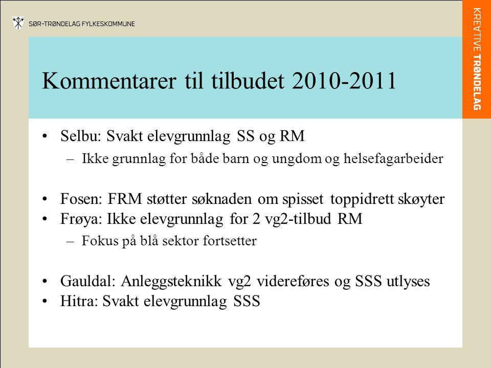 Kommentarer til tilbudet 2010-2011 •Selbu: Svakt elevgrunnlag SS og RM –Ikke grunnlag for både barn og ungdom og helsefagarbeider •Fosen: FRM støtter søknaden om spisset toppidrett skøyter •Frøya: Ikke elevgrunnlag for 2 vg2-tilbud RM –Fokus på blå sektor fortsetter •Gauldal: Anleggsteknikk vg2 videreføres og SSS utlyses •Hitra: Svakt elevgrunnlag SSS