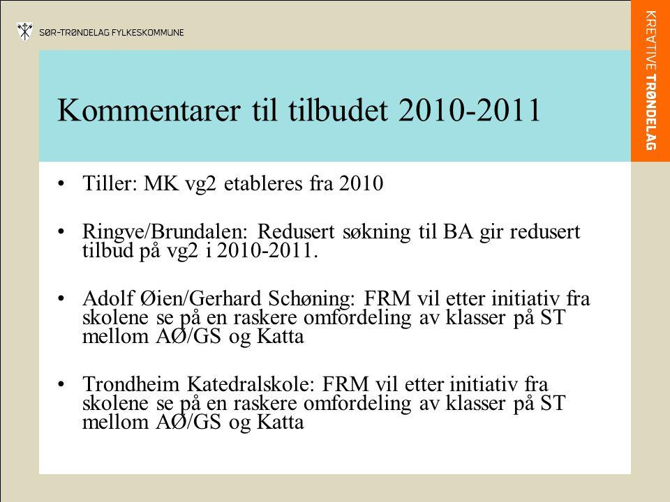 Kommentarer til tilbudet 2010-2011 •Tiller: MK vg2 etableres fra 2010 •Ringve/Brundalen: Redusert søkning til BA gir redusert tilbud på vg2 i 2010-2011.