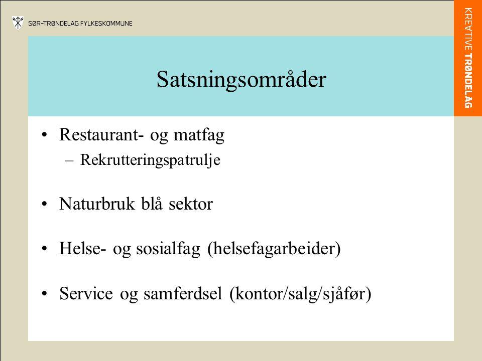 Satsningsområder •Restaurant- og matfag –Rekrutteringspatrulje •Naturbruk blå sektor •Helse- og sosialfag (helsefagarbeider) •Service og samferdsel (kontor/salg/sjåfør)