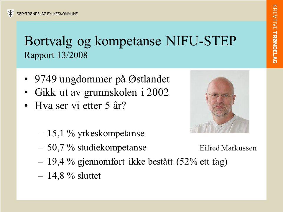 Bortvalg og kompetanse NIFU-STEP Rapport 13/2008 •9749 ungdommer på Østlandet •Gikk ut av grunnskolen i 2002 •Hva ser vi etter 5 år.