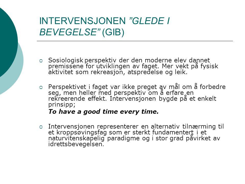 """INTERVENSJONEN """"GLEDE I BEVEGELSE"""" (GIB)  Sosiologisk perspektiv der den moderne elev dannet premissene for utviklingen av faget. Mer vekt på fysisk"""