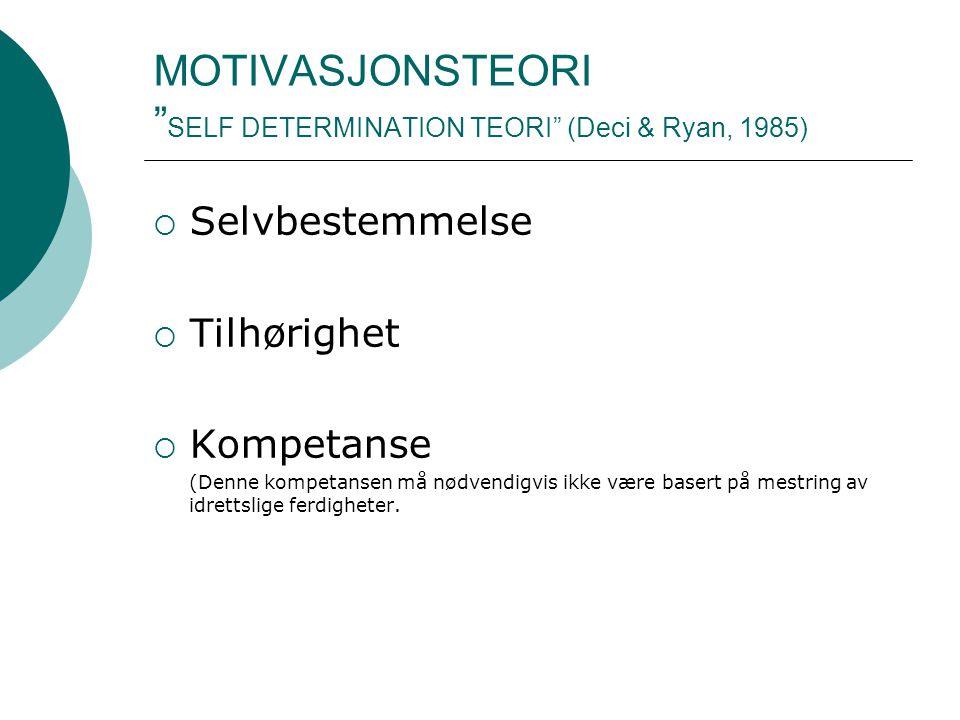 """MOTIVASJONSTEORI """" SELF DETERMINATION TEORI"""" (Deci & Ryan, 1985)  Selvbestemmelse  Tilhørighet  Kompetanse (Denne kompetansen må nødvendigvis ikke"""