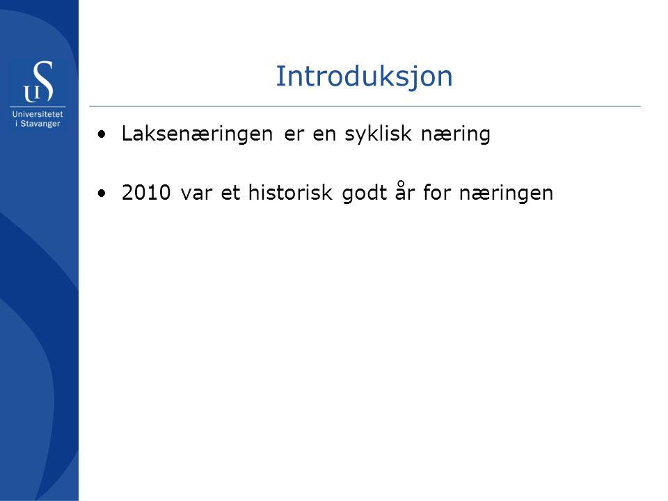 Introduksjon •Laksenæringen er en syklisk næring •2010 var et historisk godt år for næringen •Kan da 2011 bli bra?