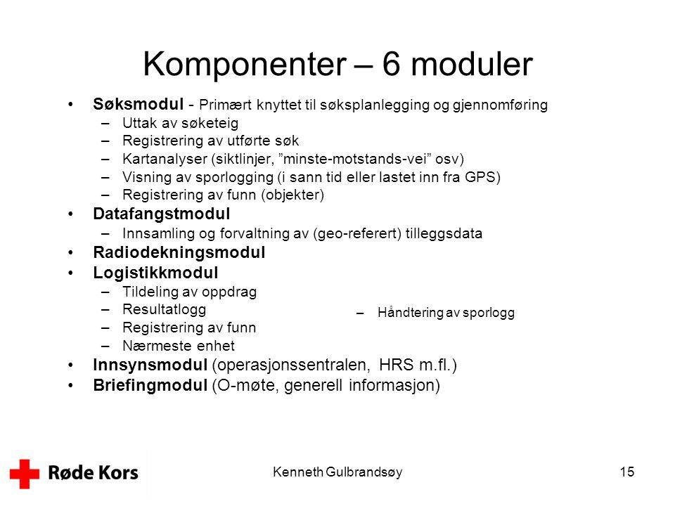 Kenneth Gulbrandsøy15 Komponenter – 6 moduler •Søksmodul - Primært knyttet til søksplanlegging og gjennomføring –Uttak av søketeig –Registrering av ut