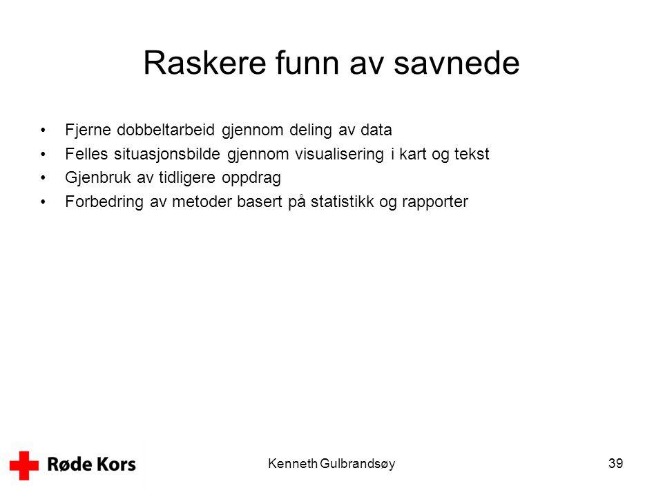 Kenneth Gulbrandsøy39 Raskere funn av savnede •Fjerne dobbeltarbeid gjennom deling av data •Felles situasjonsbilde gjennom visualisering i kart og tek