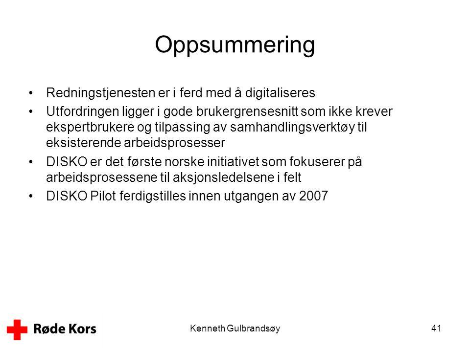 Kenneth Gulbrandsøy41 Oppsummering •Redningstjenesten er i ferd med å digitaliseres •Utfordringen ligger i gode brukergrensesnitt som ikke krever eksp
