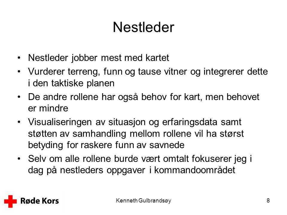Kenneth Gulbrandsøy8 Nestleder •Nestleder jobber mest med kartet •Vurderer terreng, funn og tause vitner og integrerer dette i den taktiske planen •De