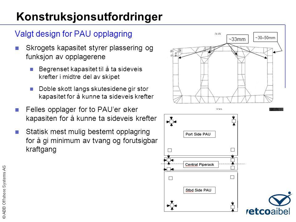 © ABB Offshore Systems AS Konstruksjonsutfordringer Valgt design for PAU opplagring  Skrogets kapasitet styrer plassering og funksjon av opplagerene