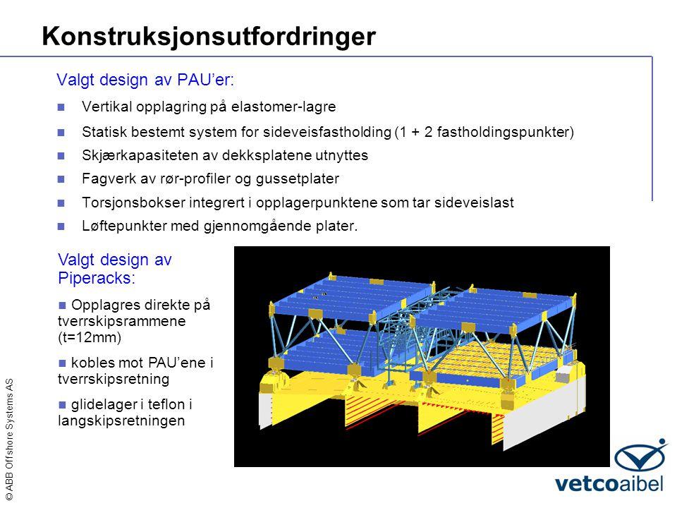 © ABB Offshore Systems AS Konstruksjonsutfordringer Valgt design av PAU'er:  Vertikal opplagring på elastomer-lagre  Statisk bestemt system for side