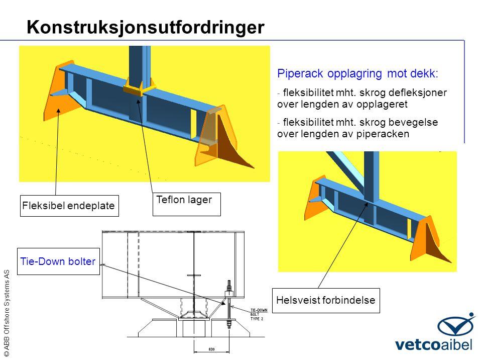 © ABB Offshore Systems AS Konstruksjonsutfordringer Piperack opplagring mot dekk: - fleksibilitet mht. skrog defleksjoner over lengden av opplageret -