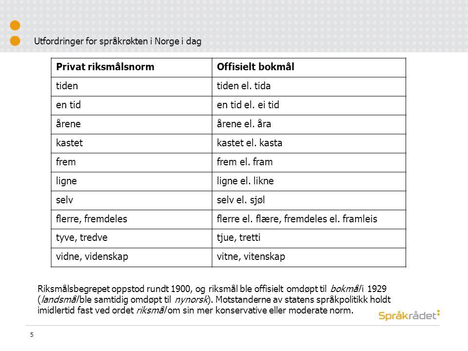 Utfordringer for språkrøkten i Norge i dag 5 Privat riksmålsnormOffisielt bokmål tidentiden el.