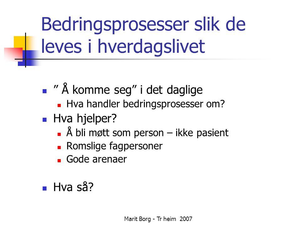 Marit Borg - Tr heim 2007 Bedringsprosesser slik de leves i hverdagslivet  Å komme seg i det daglige  Hva handler bedringsprosesser om.