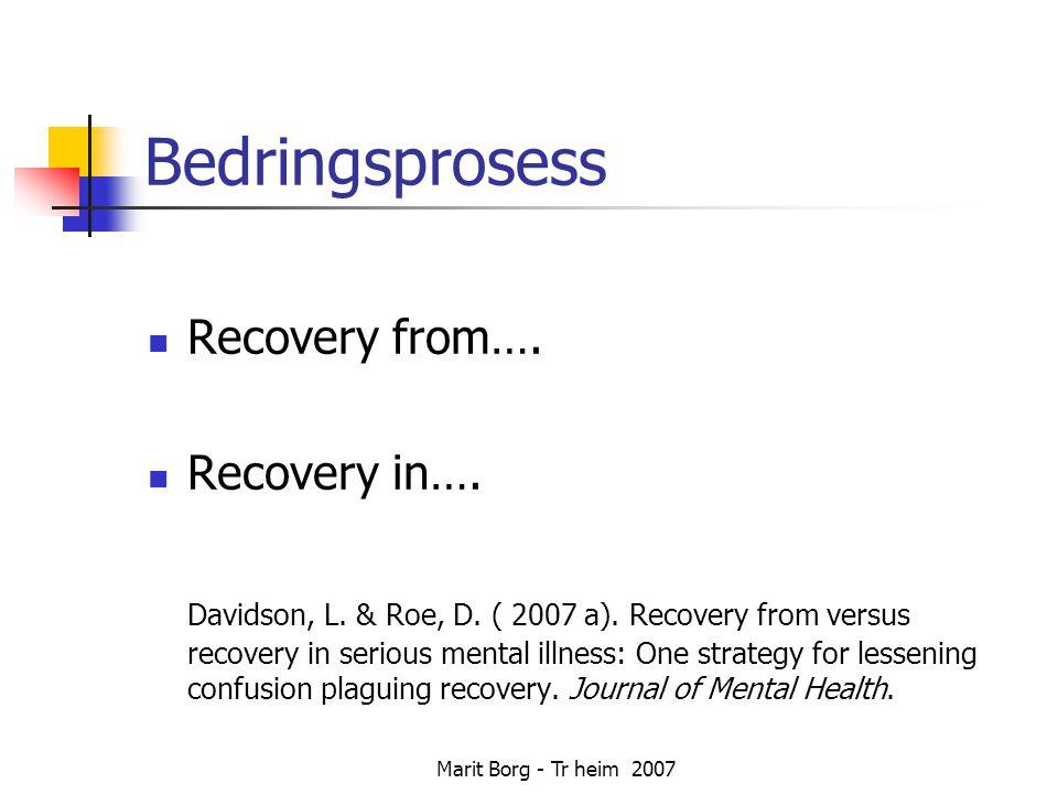 Marit Borg - Tr heim 2007 Bedringsprosess  Recovery from….