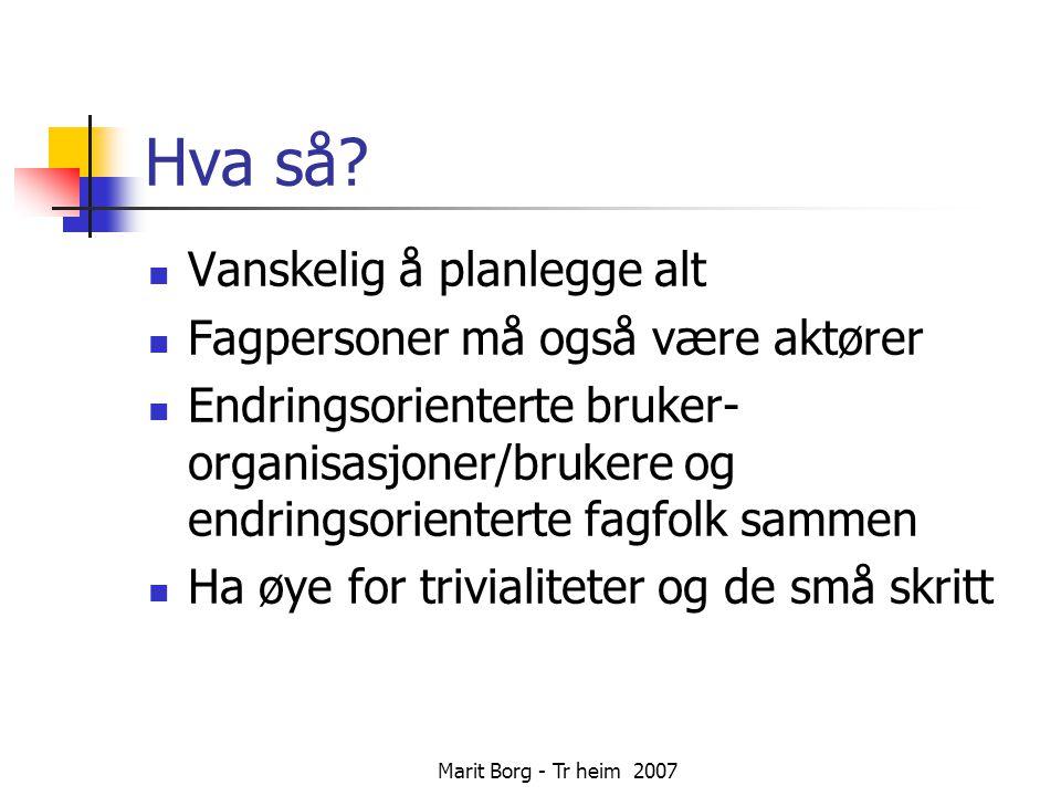 Marit Borg - Tr heim 2007 Hva så.
