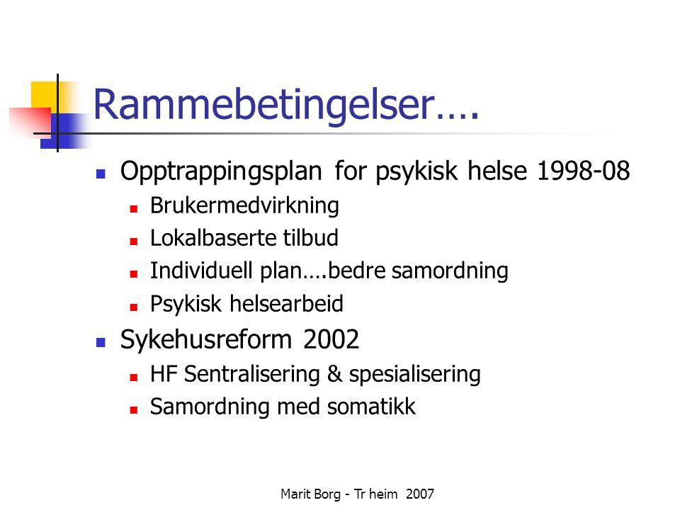 Marit Borg - Tr heim 2007 Rammebetingelser….