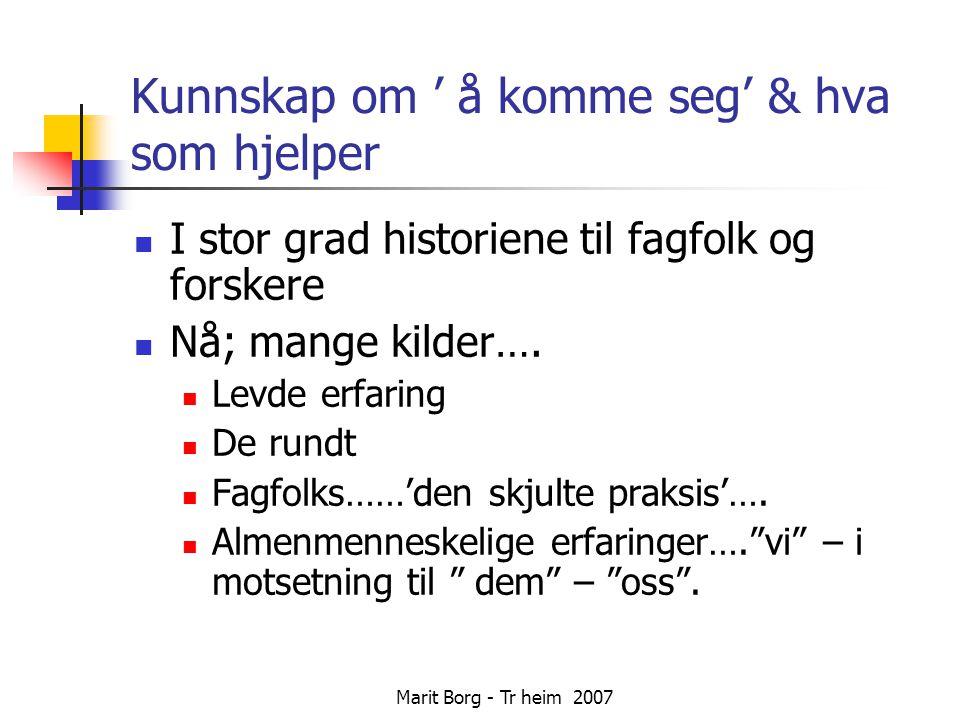 Marit Borg - Tr heim 2007 Kunnskap om ' å komme seg' & hva som hjelper  I stor grad historiene til fagfolk og forskere  Nå; mange kilder….