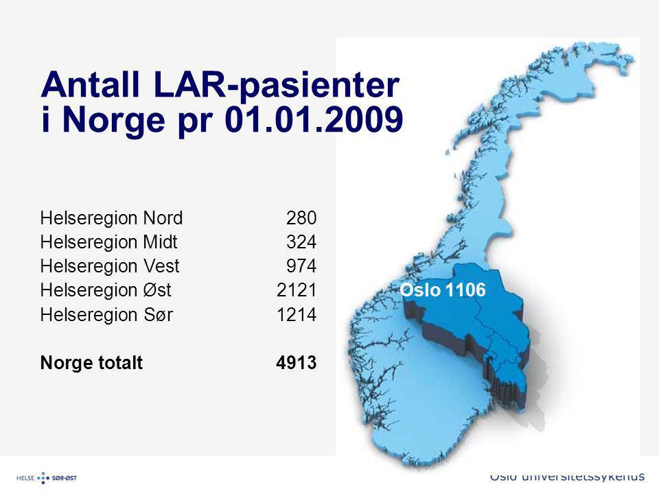 Antall LAR-pasienter i Norge pr 01.01.2009 Helseregion Nord280 Helseregion Midt324 Helseregion Vest974 Helseregion Øst2121Oslo 1106 Helseregion Sør1214 Norge totalt4913