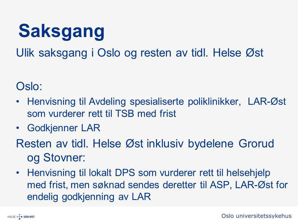Saksgang Ulik saksgang i Oslo og resten av tidl.