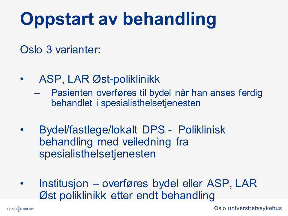 Oppstart av behandling Oslo 3 varianter: •ASP, LAR Øst-poliklinikk –Pasienten overføres til bydel når han anses ferdig behandlet i spesialisthelsetjenesten •Bydel/fastlege/lokalt DPS - Poliklinisk behandling med veiledning fra spesialisthelsetjenesten •Institusjon – overføres bydel eller ASP, LAR Øst poliklinikk etter endt behandling