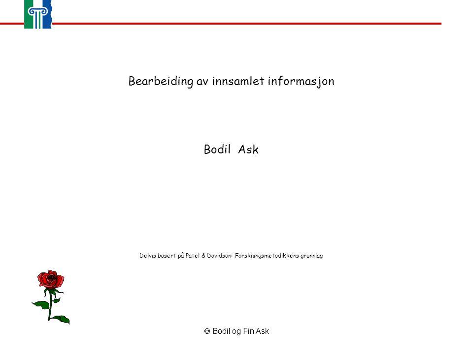  Bodil og Fin Ask Bearbeiding av innsamlet informasjon Bodil Ask Delvis basert på Patel & Davidson: Forskningsmetodikkens grunnlag