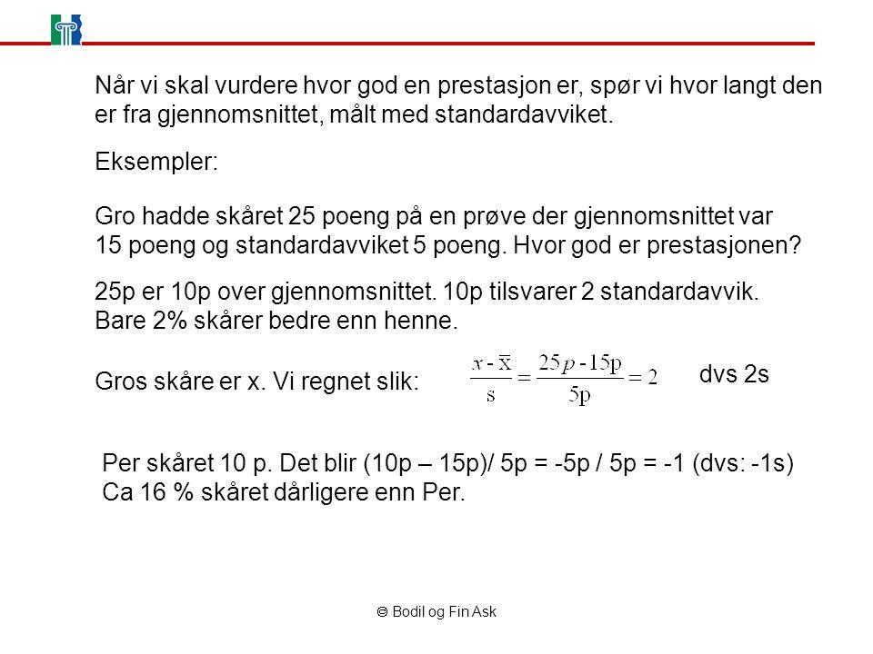 Bodil og Fin Ask Når vi skal vurdere hvor god en prestasjon er, spør vi hvor langt den er fra gjennomsnittet, målt med standardavviket. Eksempler: G