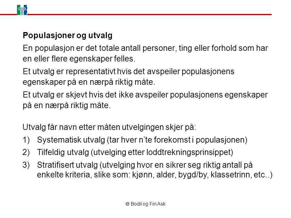  Bodil og Fin Ask Populasjoner og utvalg En populasjon er det totale antall personer, ting eller forhold som har en eller flere egenskaper felles.